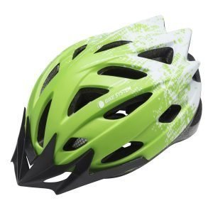Bike System Ad. Pro-Sport Green-White L 56-61 Cm Valko-Vihreä Pyöräilykypärä