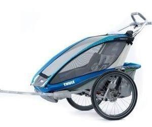 Thule Chariot CX2 pyöräkärry kahdelle lapselle sininen + pyöräilypakett