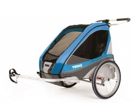 Thule Chariot Corsaire 2 pyöräkärry kahdelle lapselle + pyöräilypaketti