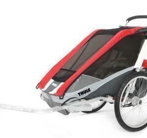 Thule Chariot Cougar 1 pyöräkärry yhdelle lapselle punainen +pyöräilypaketti