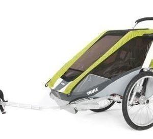 Thule Chariot Cougar 1 pyöräkärry yhdelle lapselle vihreä +pyöräilypaketti