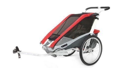 Thule Chariot Cougar 2 pyöräkärry kahdelle lapselle punainen +pyöräilypaketti