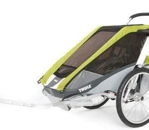 Thule Chariot Cougar 2 pyöräkärry kahdelle lapselle vihreä +pyöräilypaketti